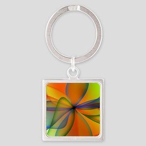 Orange Swirl Flower Square Keychain