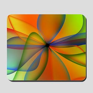 Orange Swirl Flower Mousepad