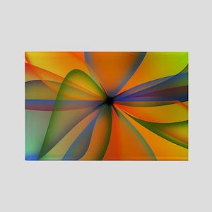 Orange Swirl Flower Rectangle Magnet