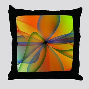 Orange Swirl Flower Throw Pillow