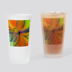 Orange Swirl Flower Drinking Glass