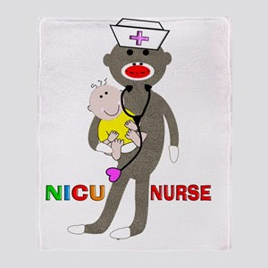 NICU Nurse sock monkey Throw Blanket