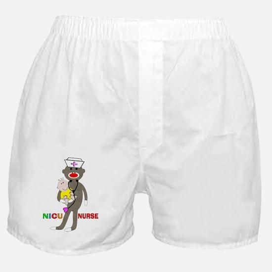 NICU Nurse sock monkey Boxer Shorts