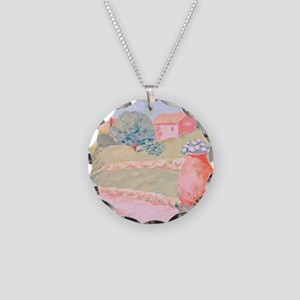 Riviera Garden Painting Necklace Circle Charm