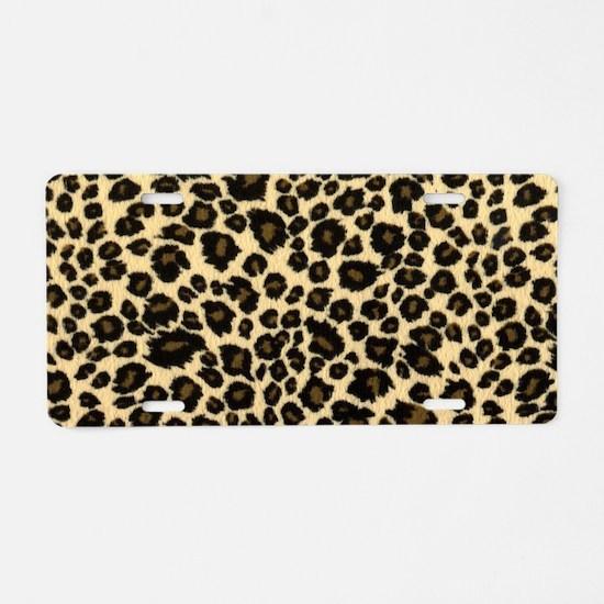 Leopard Print Aluminum License Plate