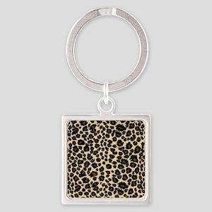 Leopard Print Square Keychain
