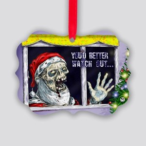Zombie Santa is coming Picture Ornament