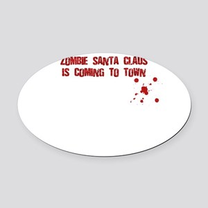 Zombie Santa (inside card) Oval Car Magnet