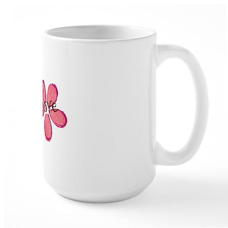 live, laugh, love flowers (pink) Large Mug