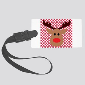 Red Nose Reindeer on Red and White Luggage Tag