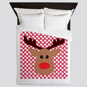 Red Nose Reindeer on Red and White Queen Duvet
