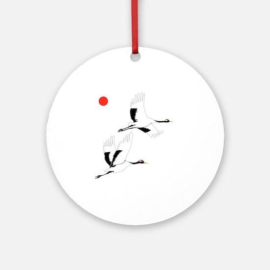 Soaring Cranes Round Ornament