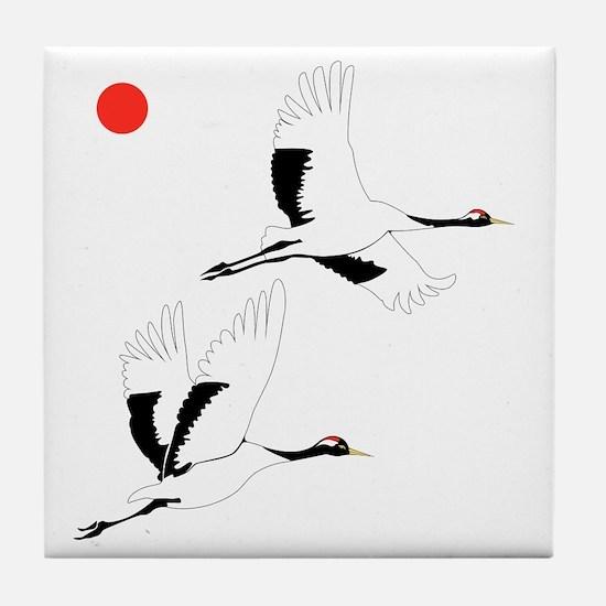 Soaring Cranes Tile Coaster