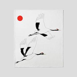 Soaring Cranes Throw Blanket