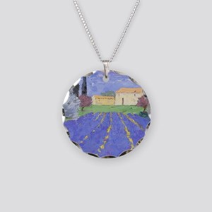 Lavender Farm Necklace Circle Charm
