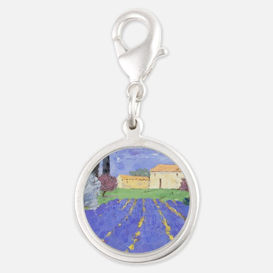 Lavender Farm Silver Round Charm