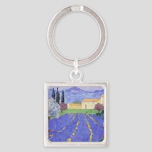 Lavender Farm Square Keychain