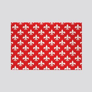 Fleur-de-lis on red Rectangle Magnet