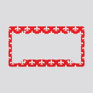 Fleur-de-lis on red License Plate Holder
