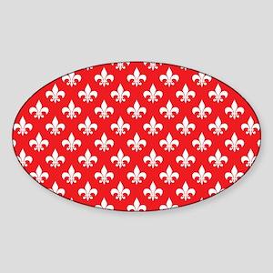 Fleur-de-lis on red Sticker (Oval)