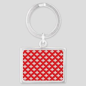 Fleur-de-lis on red Landscape Keychain