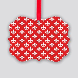 Fleur-de-lis on red Picture Ornament