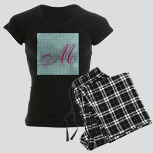 Personalizable Initial Mint and Pink Pajamas