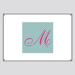 Personalizable Initial Mint and Pink Banner