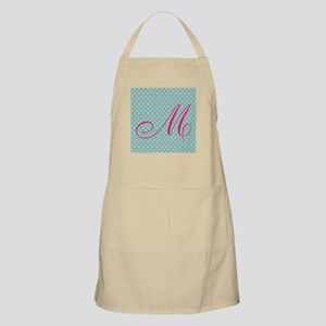 Personalizable Initial Mint and Pink Apron