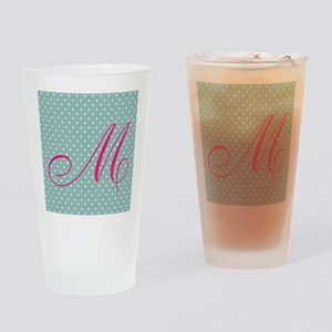 Personalizable Initial Mint and Pink Drinking Glas