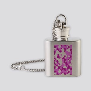 Camouflage Pink Purple Flask Necklace