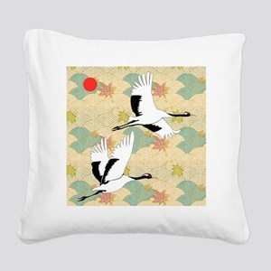 Soaring Cranes Square Canvas Pillow