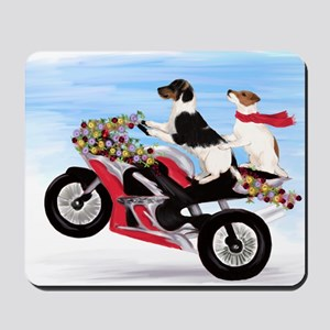 Jack Russell Terriers on a Motorcycle Mousepad