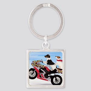 Jack Russell Terriers on a Motorcy Square Keychain