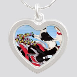 Jack Russell Terriers on a M Silver Heart Necklace