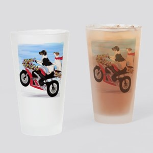 Jack Russell Terriers on a Motorcyc Drinking Glass