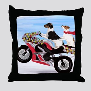 Jack Russell Terriers on a Motorcycle Throw Pillow