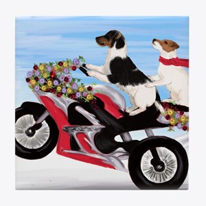 Jack Russell Terriers on a Motorcycle Tile Coaster