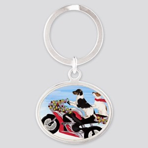 Jack Russell Terriers on a Motorcycl Oval Keychain