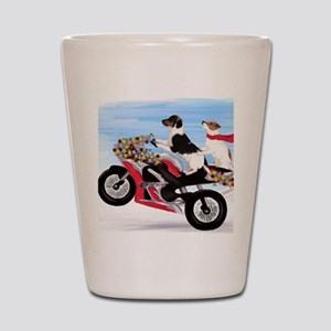 Jack Russell Terriers on a Motorcycle Shot Glass