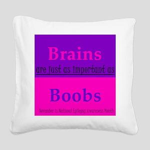 Brains vs. Boobs Square Canvas Pillow