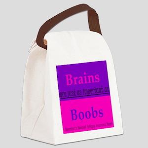Brains vs. Boobs Canvas Lunch Bag