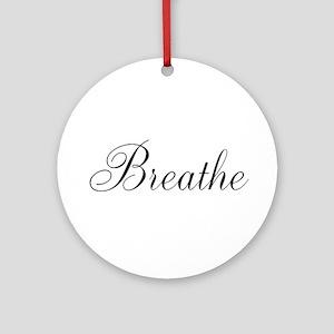 Breathe Black Script Ornament (Round)