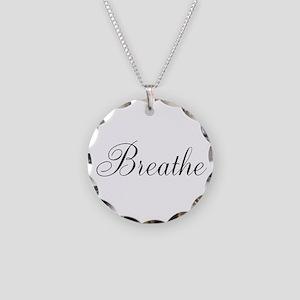 Breathe Black Script Necklace