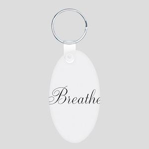 Breathe Black Script Keychains