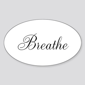 Breathe Black Script Sticker