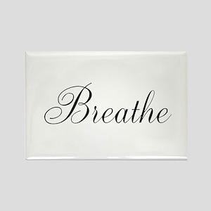 Breathe Black Script Magnets