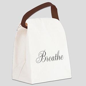 Breathe Black Script Canvas Lunch Bag