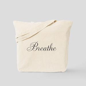 Breathe Black Script Tote Bag