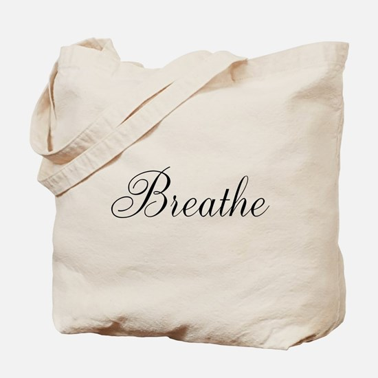 Breathe Black Script Tote Bag